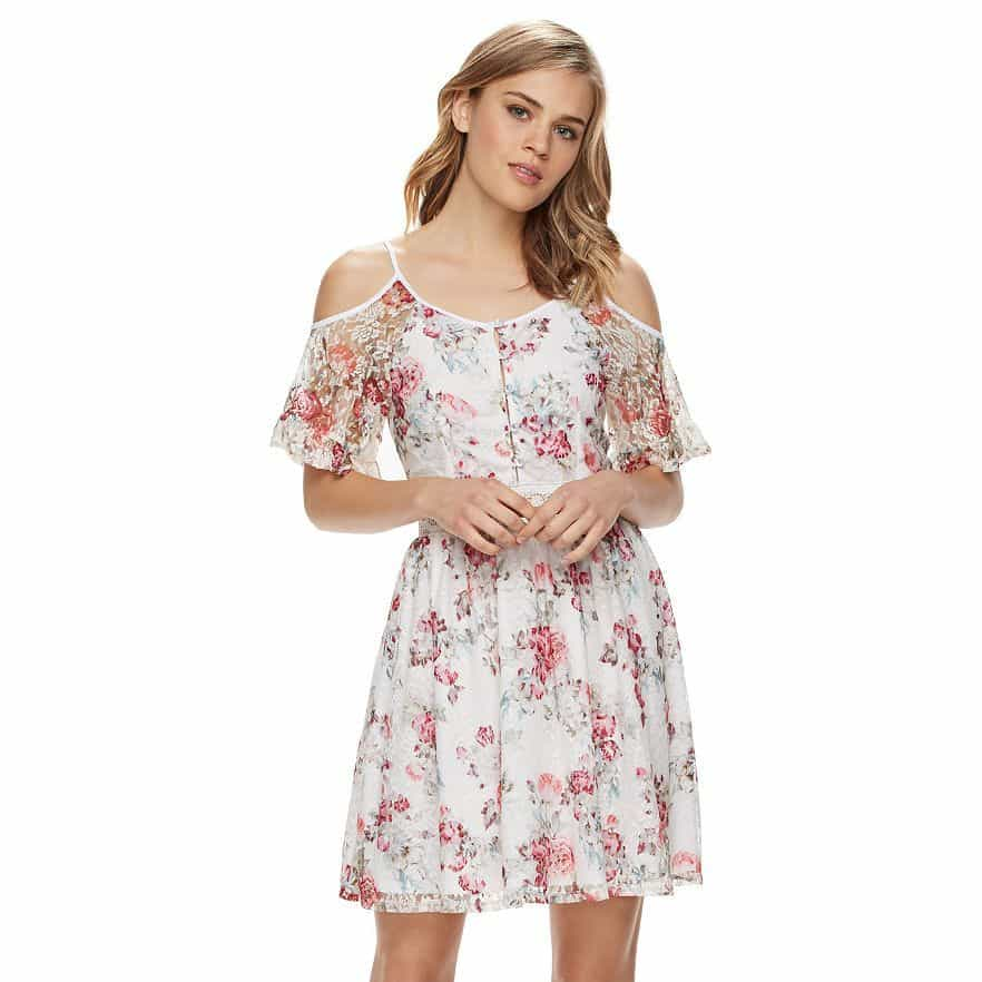 Disney's Beauty and the Beast Floral Lace Cold-Shoulder Dress