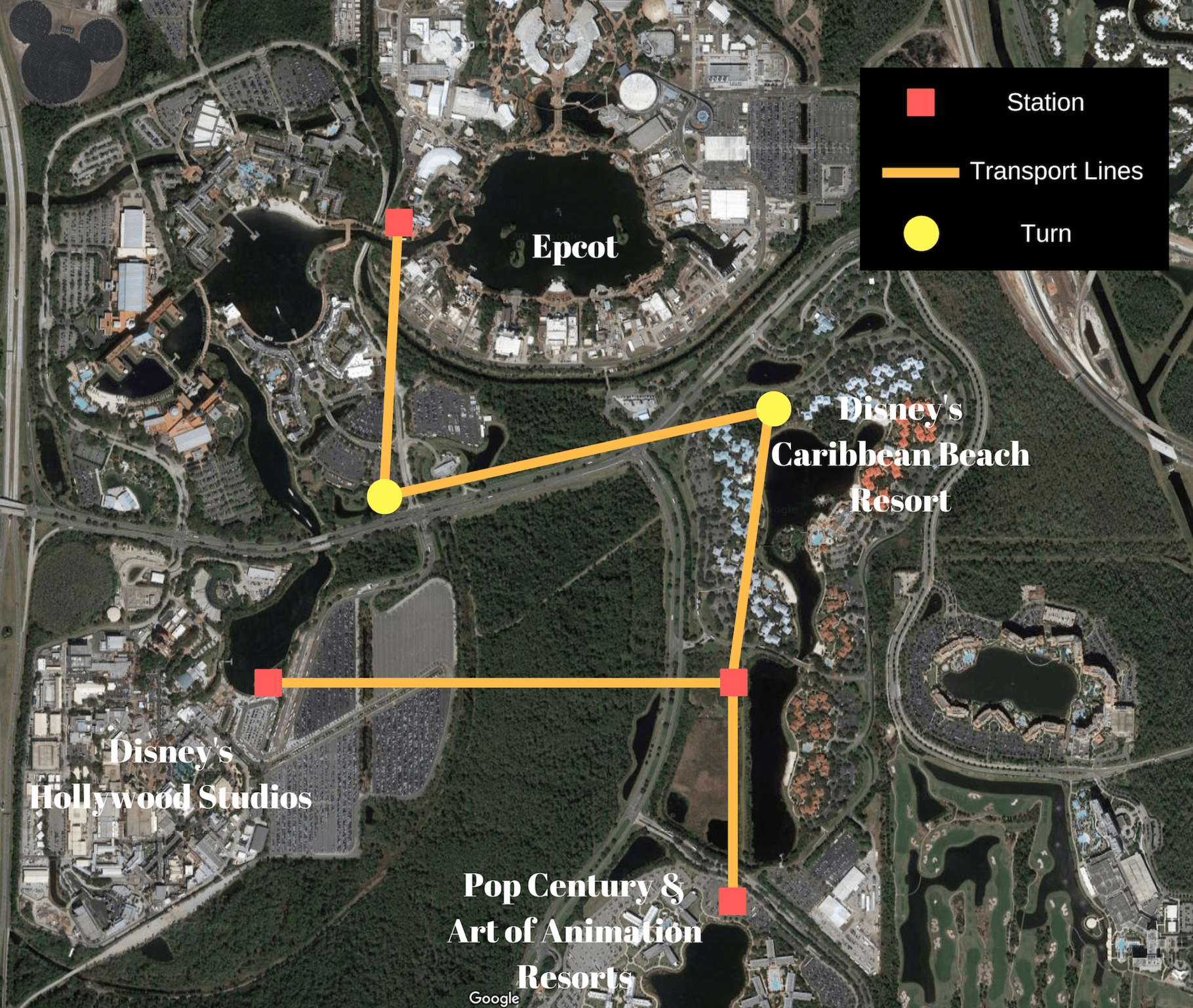 Proposed route for the gondola system at Walt Disney World.